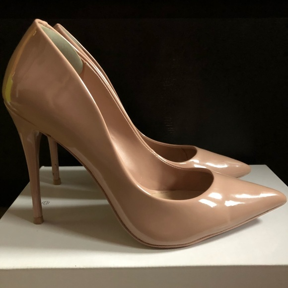 Aldo Shoes - Aldo Stessy Nude/Light Pink Patent Leather Heels